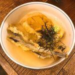 サレカマネ - ごま豆腐とワラビの天麩羅 ウニあんかけ