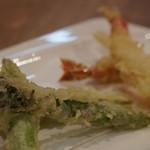 蕎麦DAYS - 旬のアスパラと車海老の天ぷら