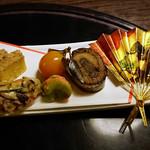 86892471 - 祝肴:きんき袱焼き・鰊八幡巻き・くわい松風・海老身空豆挟み・鮑ふっくら煮・金柑蜜煮