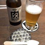 肉バル 肉ソン大統領 - 「肉BEER」980円 +お通しの「鶏だし豆腐」