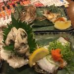 三宮高架下酒場 茶々 - 岩牡蠣とカマの塩焼き