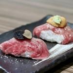 ヤキニク ぼんず - 肉寿司トリュフのせ&雲丹のせ