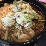 よもだそば - すんき蕎麦。ウドの天ぷらの葉っぱはサービス(笑)