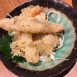 中国薬膳料理 星福 - エリンギと海老の海苔巻き揚げ