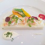 8693636 - 前菜(かぶのムースとカニのサラダ)