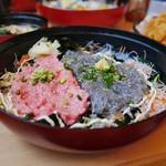 86940201 - 生シラス&トロすき身丼(本日の限定丼)