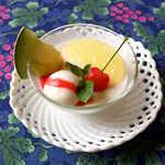 風 - デザートは、アーモンドのブラマンジェ&ヨーグルトのソルベ