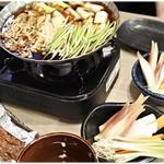 うに小屋 - 鴨なべ&生野菜&ピリ辛味噌