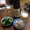 川鳥 - 料理写真:大瓶ビール650円とお通しの新香350円、予約特典(?)のミニ奴