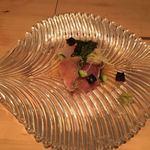 調整 - 潮の香り盛り込み 青柚子あん  生のりと共に (醤油ゼリーと山葵が刺身によく合いました。)