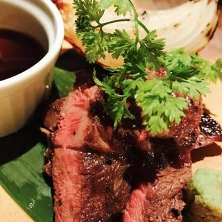 【売れ筋メニュー】国産牛みすじステーキ~焦がしにんにく醤油~