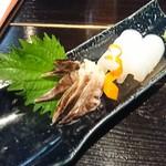 魚店亜紗 - 2018年6月 ミル貝と水イカの刺身