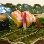 86987363 - 前菜 : 笹ガレイ 鼈甲うど 黄身寿司 那須のがく