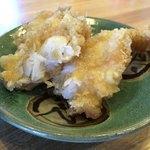 日本そば うらじ - 天ぷらを割ってみると、こんな感じ。