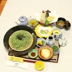 和彩食堂あけぼの - 天ぷらとろろ茶そば1500円