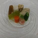 日本料理 花遊膳 - 鶏つくねと冬瓜 牛蒡の炊き合わせ