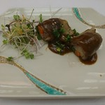 日本料理 花遊膳 - 牛肉アスパラ巻きのグリル山椒味噌添え