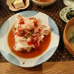 mori cafe - 芋豚ロースの冷しゃぶトマトじょうゆ