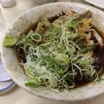 仲屋製麺所 - 「ひもかわ」冷&「インゲンの天ぷら」! 美しい長ネギものり、美味しいです。