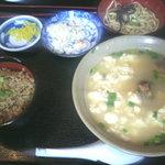 本家 亀そば - ゆし豆腐定食 (650円)
