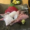 東 - 料理写真:太刀魚の刺身、黒ムツの炙りが絶品でした。(^^)