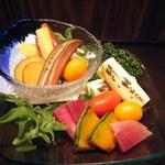 有機野菜盛合せ カニ味噌オイル