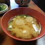 たべ天しゃい - 豆腐、麩、玉葱のお味噌汁