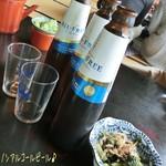 天満沢 - ノンアルコールビール(370円)で乾杯〜( ^ ^ )/□ 山菜天ぷら(1100)、わさびのおしたし(500)、ざるそば(1枚/650円)は6枚頼む♪ わさびのおしたしもさっぱりしてナカナカ!