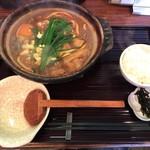 岡崎 二橋 - 親子味噌煮込みうどん 1300円(税込)+ひとくちごはん 200円(税込)