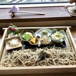 遊の丘 - 十割蕎麦ランチ1200円 (おこわ・筍煮・ずんだ餡蕎麦がき)