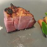 プレゼンテ スギ - 平日ランチ ガリシア豚のHigh&low あまりに美味しそうで一口先に食べちゃった