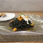 prospero - イカスミを練り込んだ黒いタリオリーニ 新鮮な生ウニとリコッタチーズを添えて☆