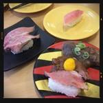 かっぱ寿司 - 肉三種盛り・ローストビーフ・中トロ