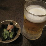 ばしゃやま亭 - ばしゃやま亭:お通し&生ビール