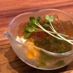 蕎麦むらた - *湯葉の土佐酢ジュレかけ・・湯葉以外に焼きナス、ブロッコリーなども入っています。