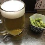 おかもと - 先ずは、生ビール!