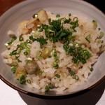 神楽坂 創彩割烹 清水 - 新じゃがとうすい豆の炊き込み飯 浅葱