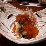 神楽坂 創彩割烹 清水 - 「蛸と白瓜の梅湯葉の和え物 鮭卵のせ  針茗荷 削り 胡麻 大葉」