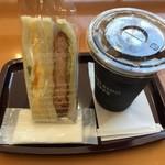 エクセルシオールカフェ - 料理写真:海老カツ&タマゴサンドとアイスコーヒーM