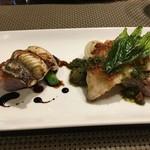 奥沢サクレクール - 桜海老のパン粉のアカハタ 赤紫蘇のソース、穴子に焼きリゾット