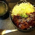西宮ビーフ - ハラミ丼(並)スープもついてた!