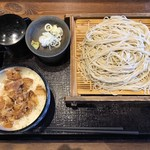 たけぞー - もりそば大盛+肉丼小(430円+350円)