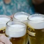 元祖 台湾もつ鍋 仁 - 生ビールで乾杯〜♪