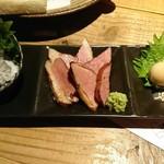 87262023 - 日本酒+500円のツマミセット。氷頭まで