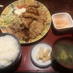 松の家 - 豚生姜焼き定食おかず大盛り