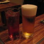 Kankokuanjupontochourinanha - 2011.7 アメリカンチェリー酒ソーダ割@580 & プレミアムエビス@650
