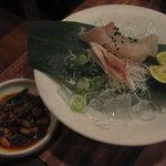 Kankokuanjupontochourinanha - 2011.7 黒毛和牛ハラミチョンゴル韓定食:本日旬鮮魚のお刺身(鱸)