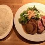 Meat&Wine Bambu - 和牛ハンバーグとラム肩ロースのコンビ、ライス大盛り