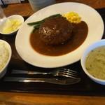 三珍 富士力食堂 - 大玉ハンバーグ350g デミソース(961円)