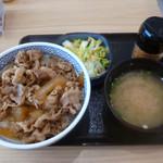 吉野家 - 牛丼並(380円)+お新香味噌汁セット(130円)